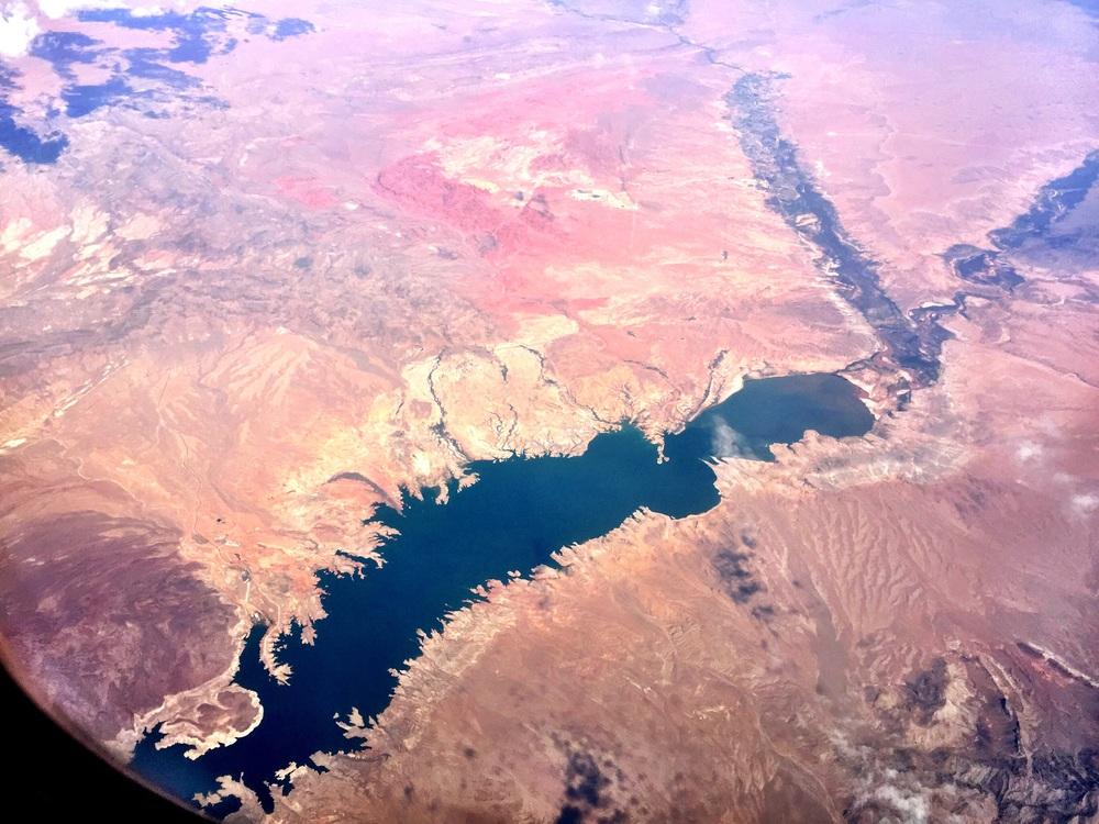 Pretty sure this is Lake Mead, at the Arizona/Nevada border, at 1:25 PM.