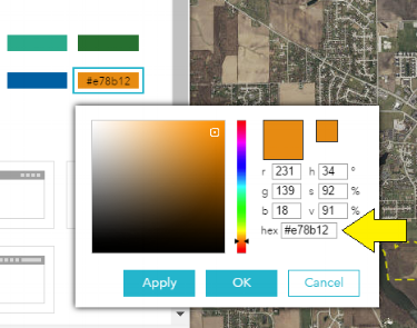 Choose a color from the palette, or enter the value of a color hex code.