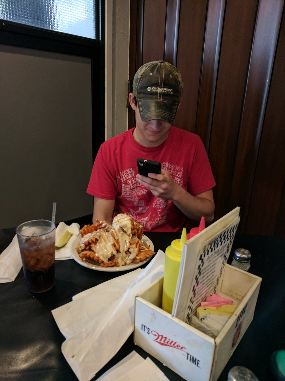 He ate the entire thing in less than 30 minute on more than one ocassion. Note the different shirt and table location.