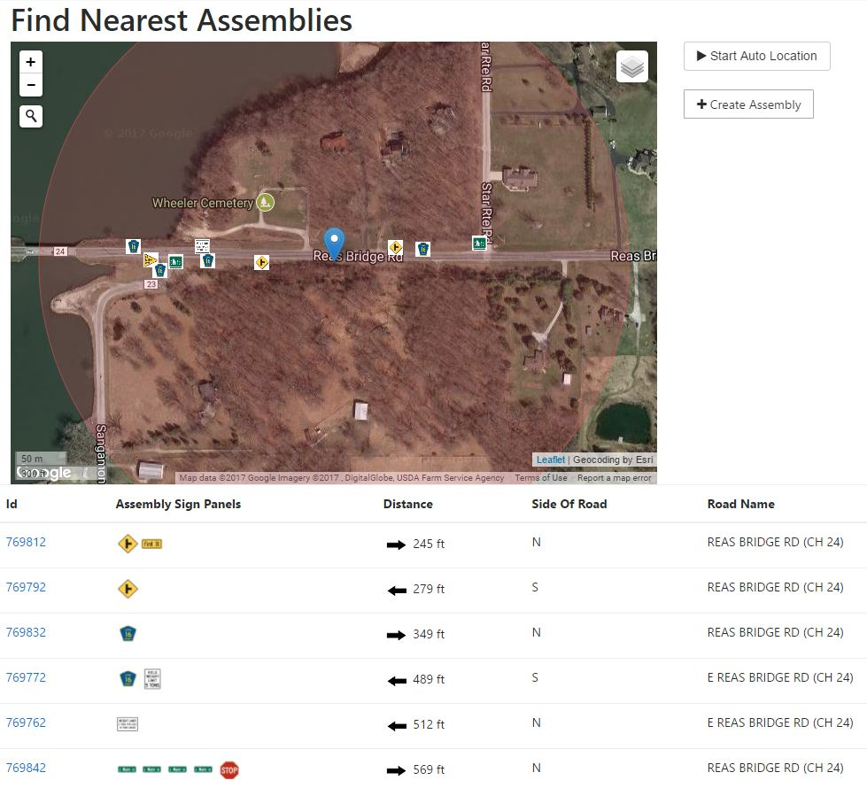 "Here is a section of County Highway 24 that has been completed using the SignOps application. This particular screen is the ""Find Nearest Assemblies"" page that shows each sign and the distance to each assembly."
