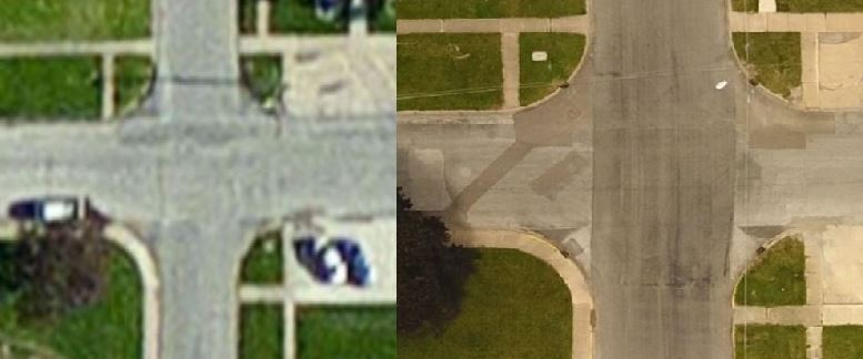 Here is another side by side comparison between Esri's base imagery on the left and the imagery collected by Cloudpoint's drone. While the left image is pretty blurry, the updated imagery allows you to see inlets, road patching areas and much more detail.