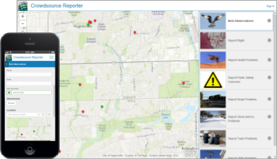Here is a sample screen shot of Esri's Crowdsource Reporter Application in action.