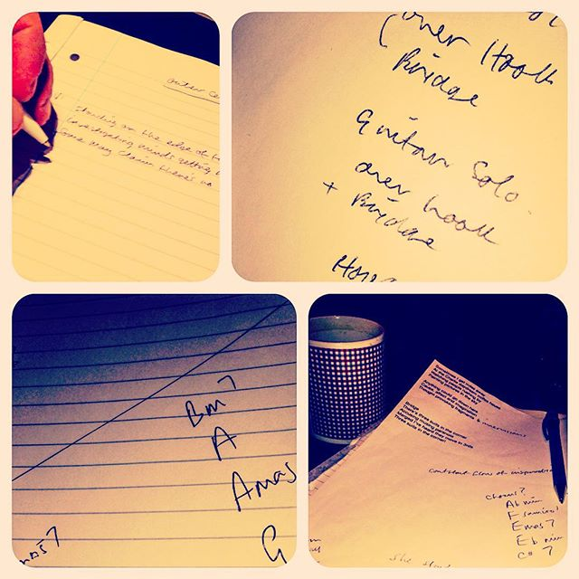 Pen to paper.. Very productive afternoon. New songs on the horizon. #newsongs #newtunes #creativeflow #mikelensonband