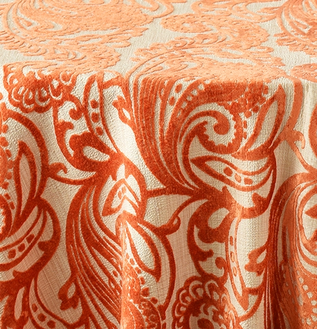 "Orange 132""R $75, 108"" x 156"" King Drape $95"