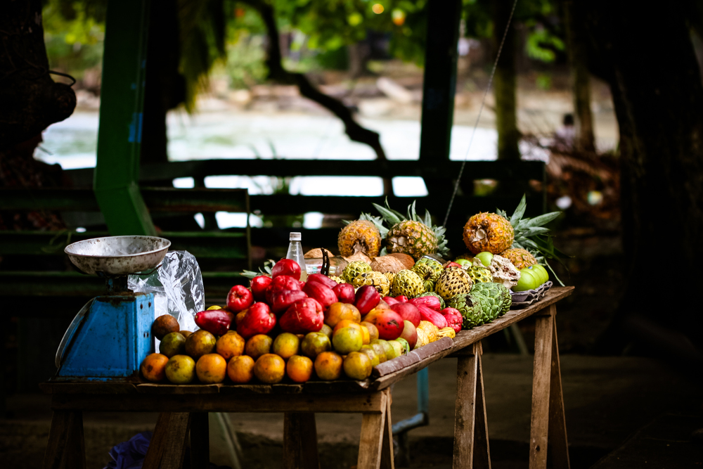 Fresh fruit and water apples for sale at roadside stands everywhere