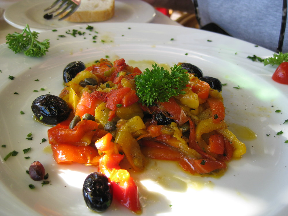 Roasted peppers and olives