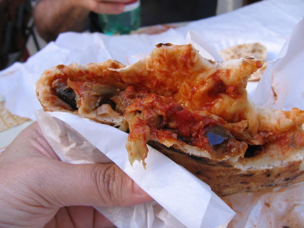 Roasted eggplant calzone sandwich, Amalfi, Italy