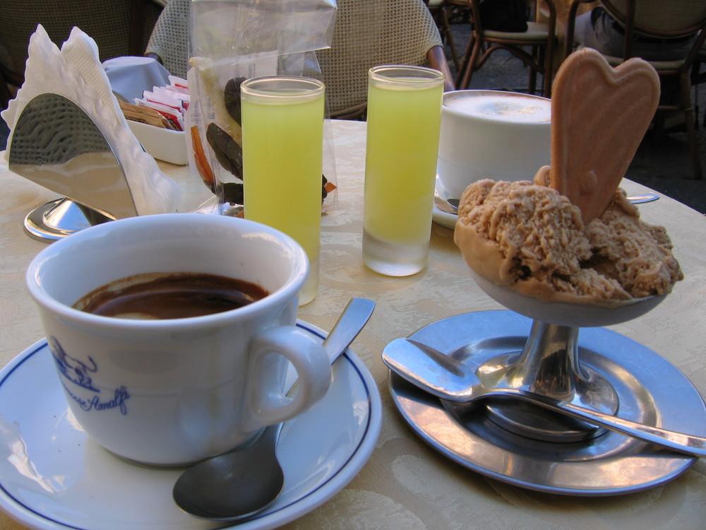 Coffee, gelato, and limoncello!