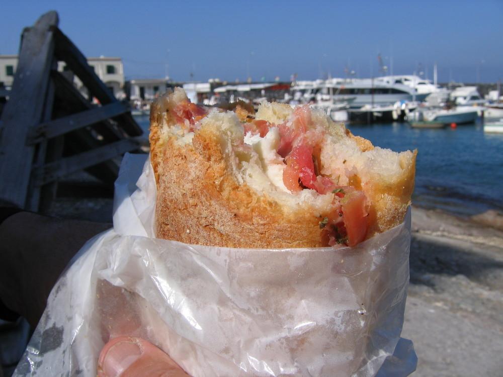 Caprese sandwich on crusty Italian roll