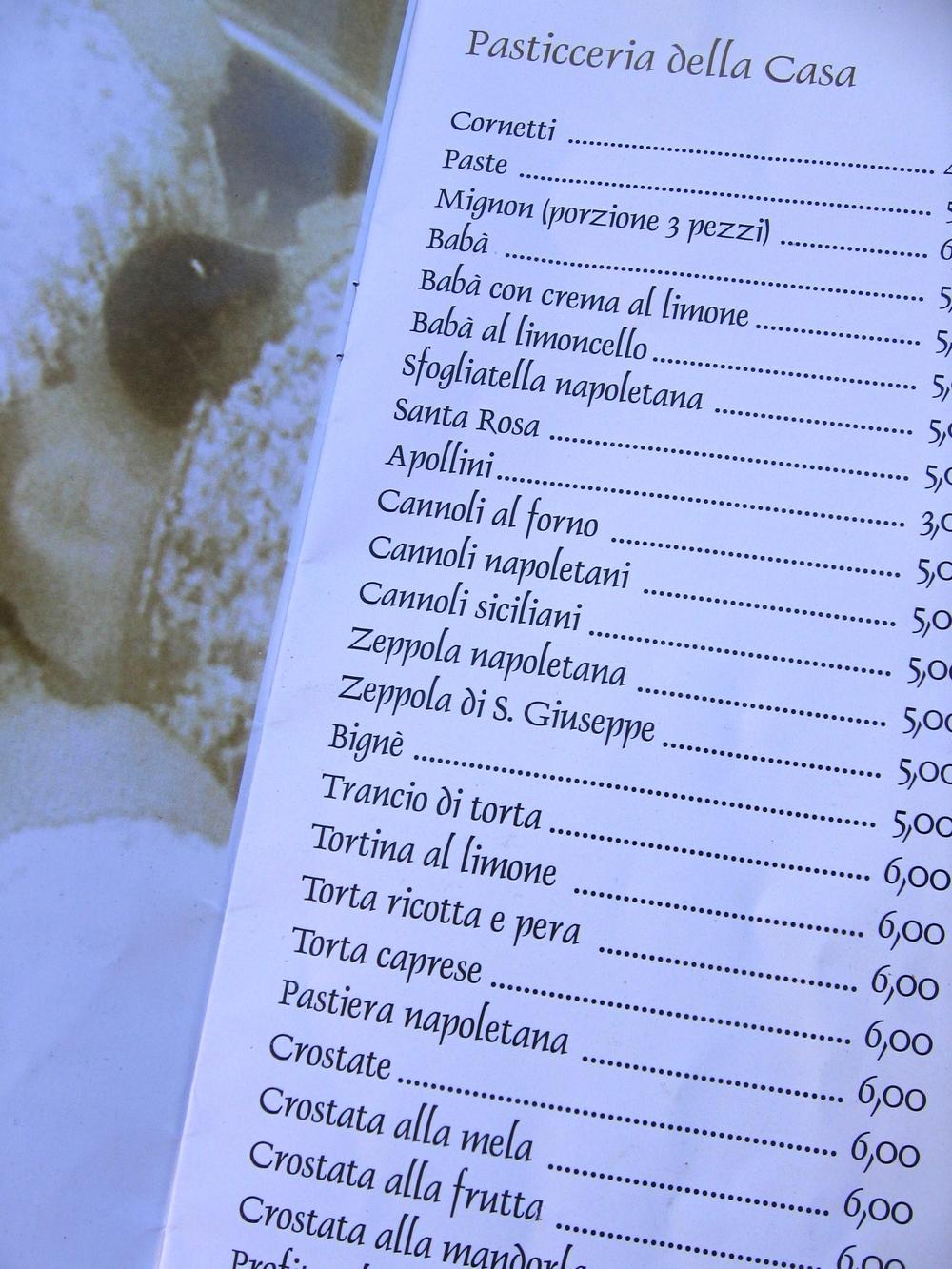 Dessert menu, Amalfi, Italy