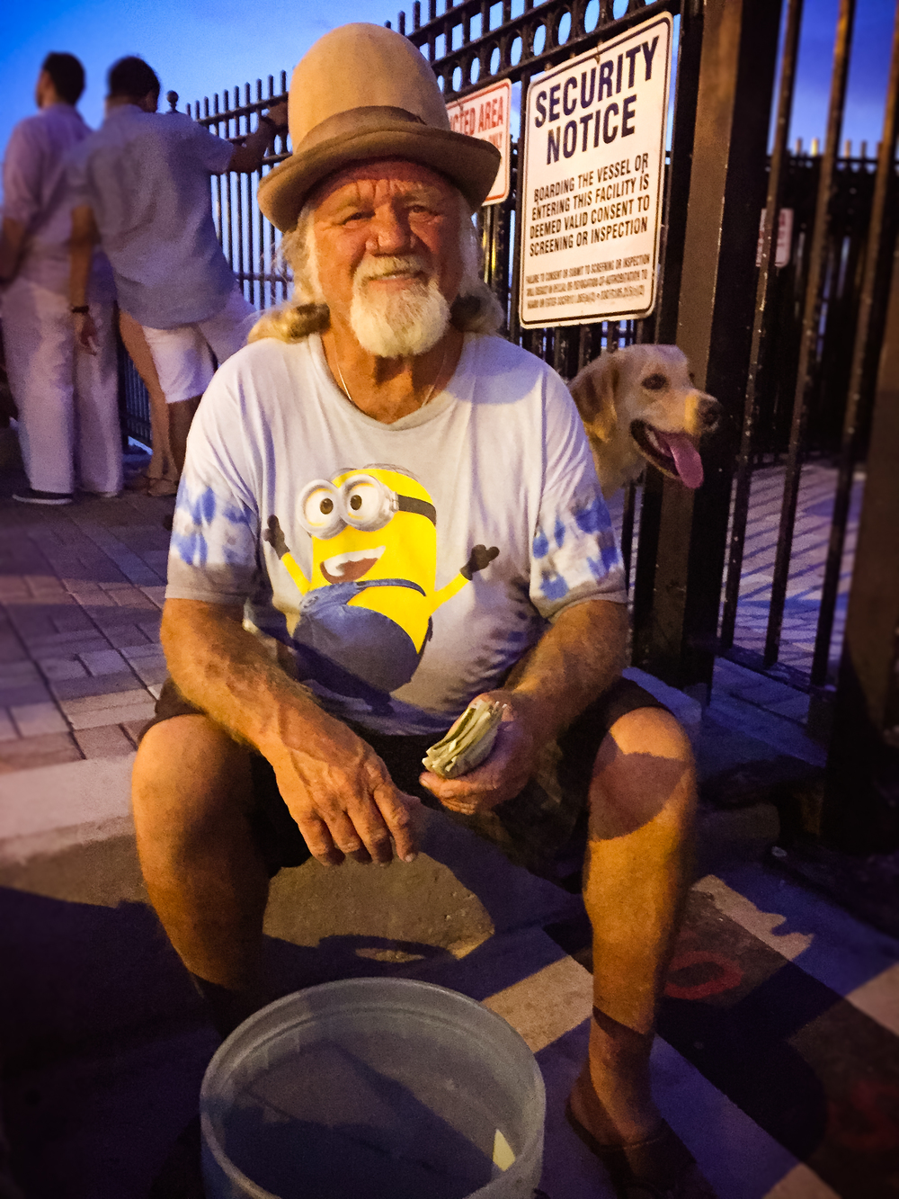 "MEET ""JEEP""  Jeep is the second oldest street performer in Key West, performing and playing the banjo for over 30 years!  He's obviously doing something right judging from his day's pay. Lest you think street performers in Key West don't pay taxes, think again.   Me: ""What's still crusty about Key West?  Jeep: ""Me. Sorry, I didn't get a shower this morning."""