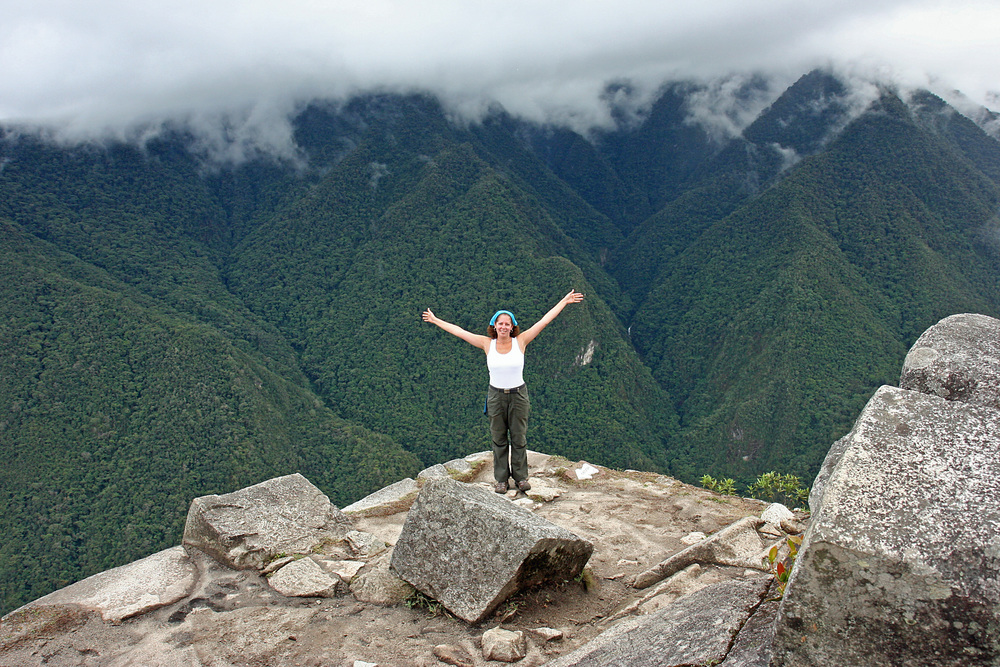 At the tippy top of Wayna Picchu, 1,000 feet above Machu Picchu!
