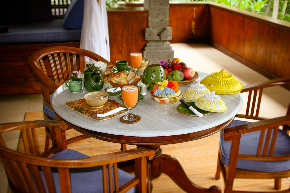 Our breakfast at the beautiful Alam Shanti in Ubud - a welcoming sight first thing in the morning