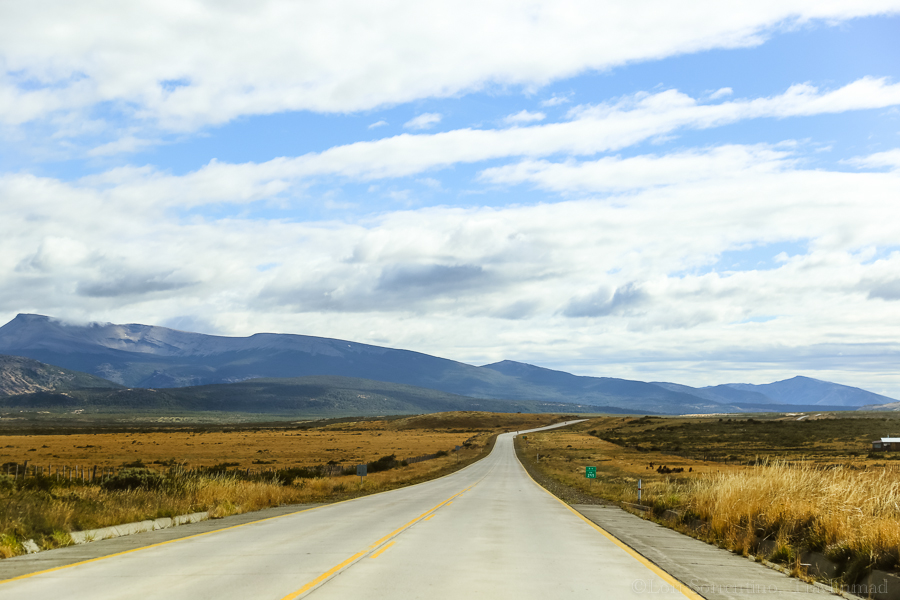 The wide open road from Punta Arenas to Puerto Natales is one of the most scenic drives in Chile.