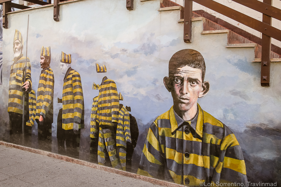 "This mural is a chilling depiction of the  Desaparecidos , the Spanish word for ""the Disappeared."""