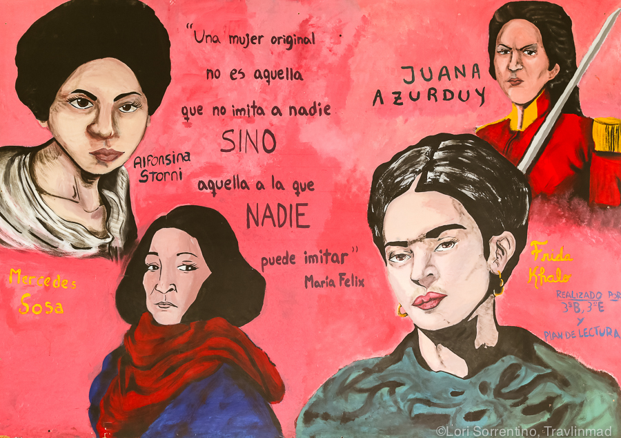 "Colorful mural found in a shelter for women - ""Original women imitate no one, and no one can imitate them""."