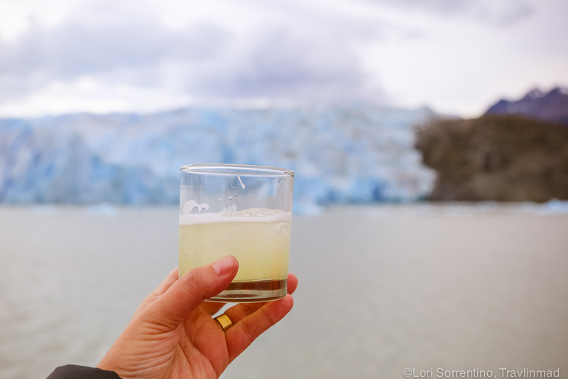 Pisco sour after the Glacier Grey Ice Hike, Chile