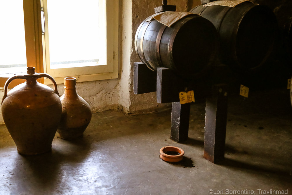 Wood barrels leak balsamic on the floor