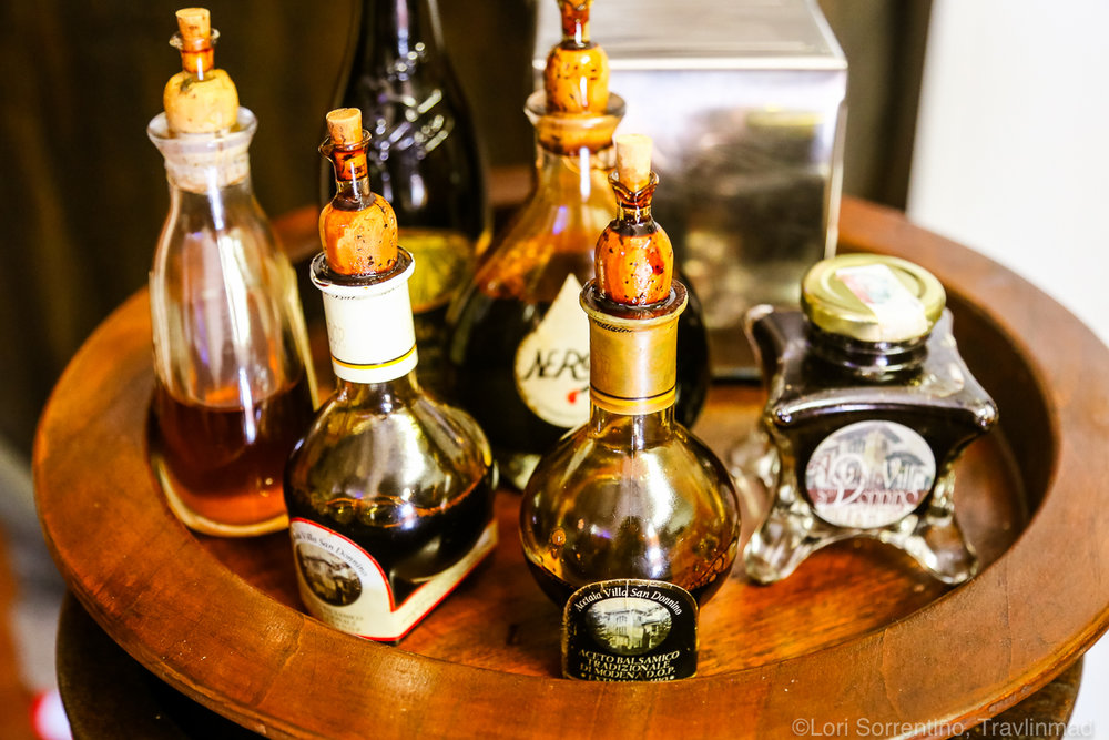 A selection of balsamic and other vinegars produced by Villa San Donnino
