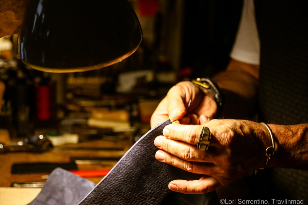 Leather craftsman, Florence, Italy
