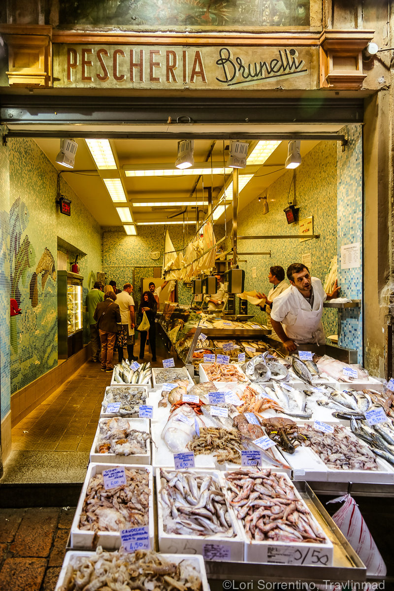 Pescheria Brunelli, the fish market in the Quadrilatero, Bologna