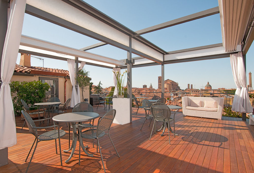 Hotel Touring rooftop terrace, Bologna, Italy
