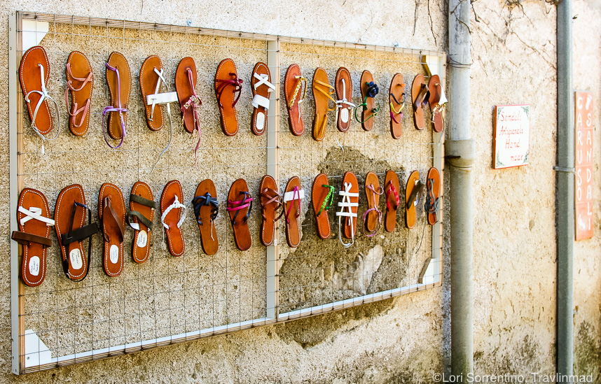 Handcrafted leather sandals, Capri, Italy