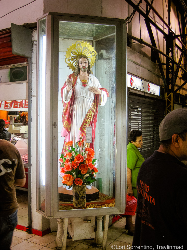 Jesus watches over the Mercado Central in San Jose, Costa Rica