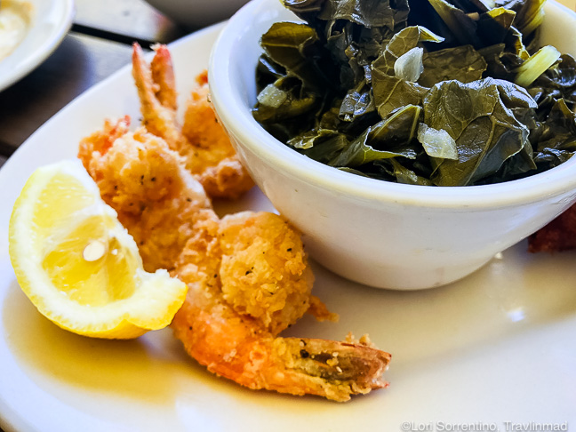 Fried shrimp with collard greens, Ed's Seafood Shed, Mobile, Alabama