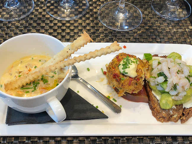 Dungeness Crab Cake, Shrimp and Cucumber Salad, Salmon Chowder, EVOO Cannon Beach Cooking School, Oregon