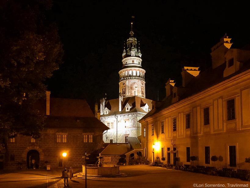 The Cesky Krumlov castle at night, South Bohemia, Czech Republic
