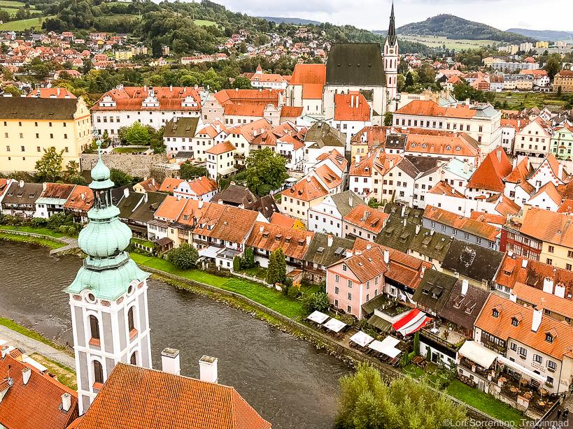 View from the Cesky Krumlov castle, South Bohemia, Czech Republic