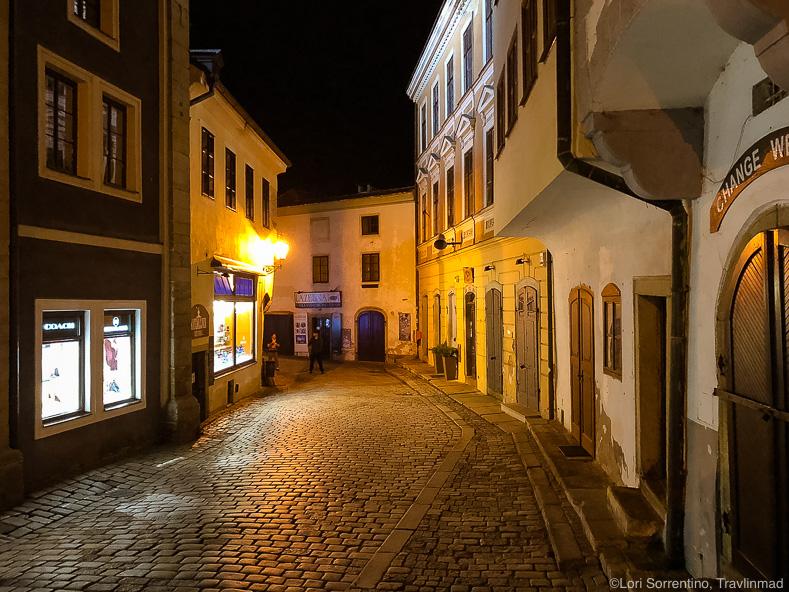 Streets of Cesky Krumlov at night, South Bohemia, Czech Republic