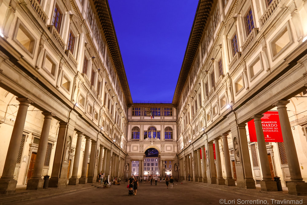 The Uffizi Gallery at sunset, Florence, Italy