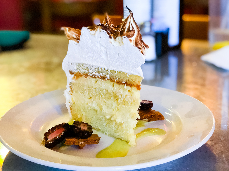 Toasted coconut meringue layer cake at Kool Beanz Cafe in Tallahassee