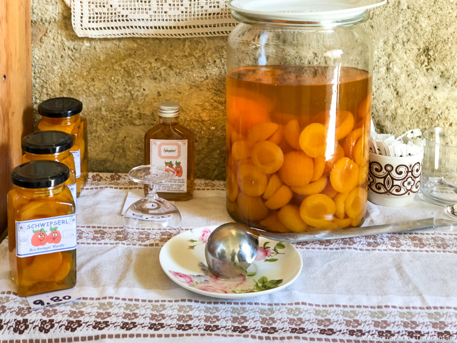 """My favorite souvenir from Austria's Wachau Valley — """"beschwingte marille"""", or  drunken apricots,  made here .  Photo by Lori Sorrentino, Travlinmad"""