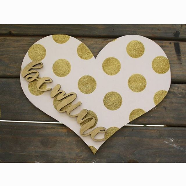 There are only 12 hearts left! Grab one before they're gone! . . . #lasercuthearts #laserworkzco #valentinesday #valentine #valentinedecor #goldpolkadots