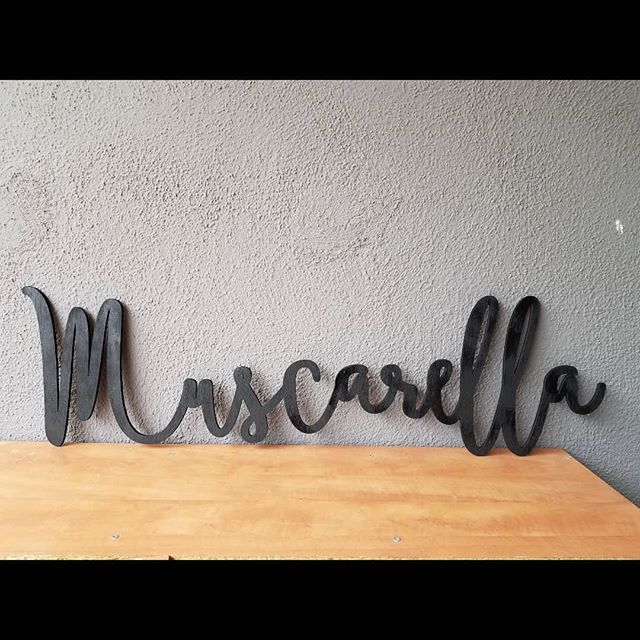 Another beautiful laser cut wood name! Painted black this time! . . . . #laserworkzco #lasercutout #lasercutting #lasercutname #lasercut #namecutout