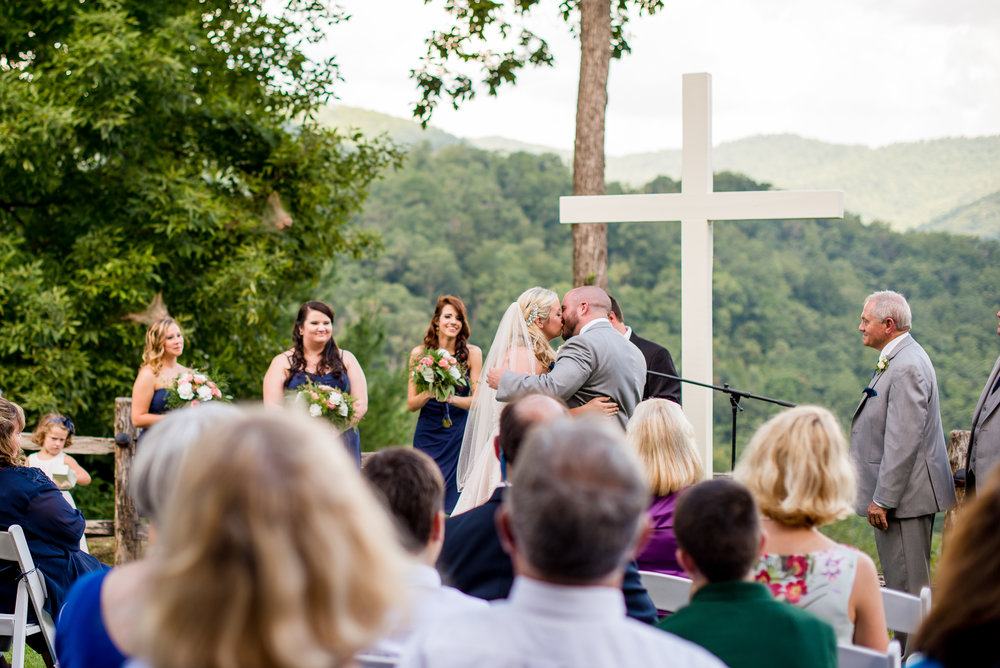 Castle-Ladyhawke-Mountain-View-Ceremony-First-Kiss-Asheville-Wedding