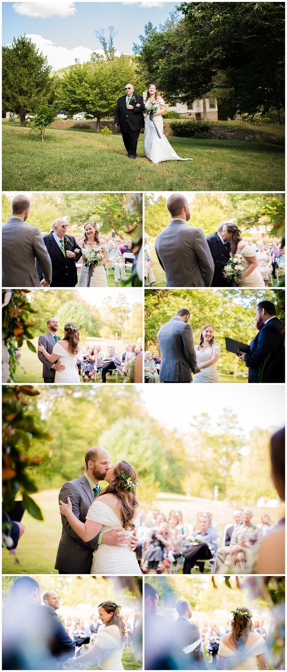 Mountain-Ceremony-Bull-Creek-Ranch-Asheville-North-Carolina-Father-Walking-Bride-Down-Aisle-October-Fall-Wedding-First-Kiss-Bride-Groom
