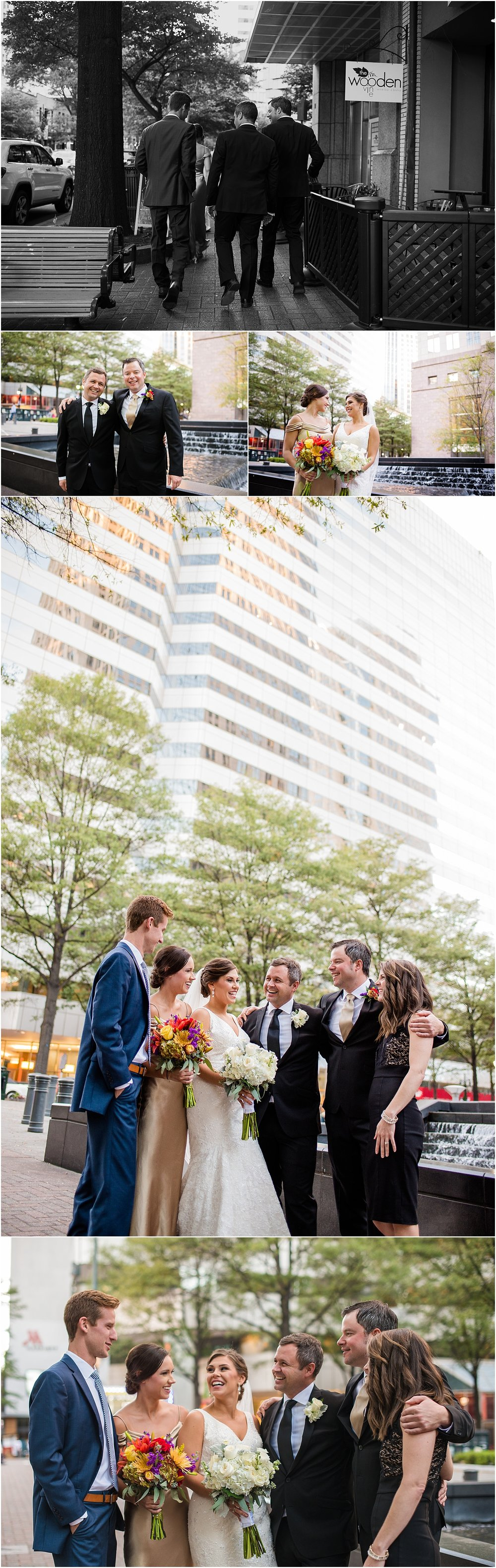 Candid_Wedding_Party_Photos_Bridesmaid_Groomsmen_Uptown_Charlotte_Gold_dresses
