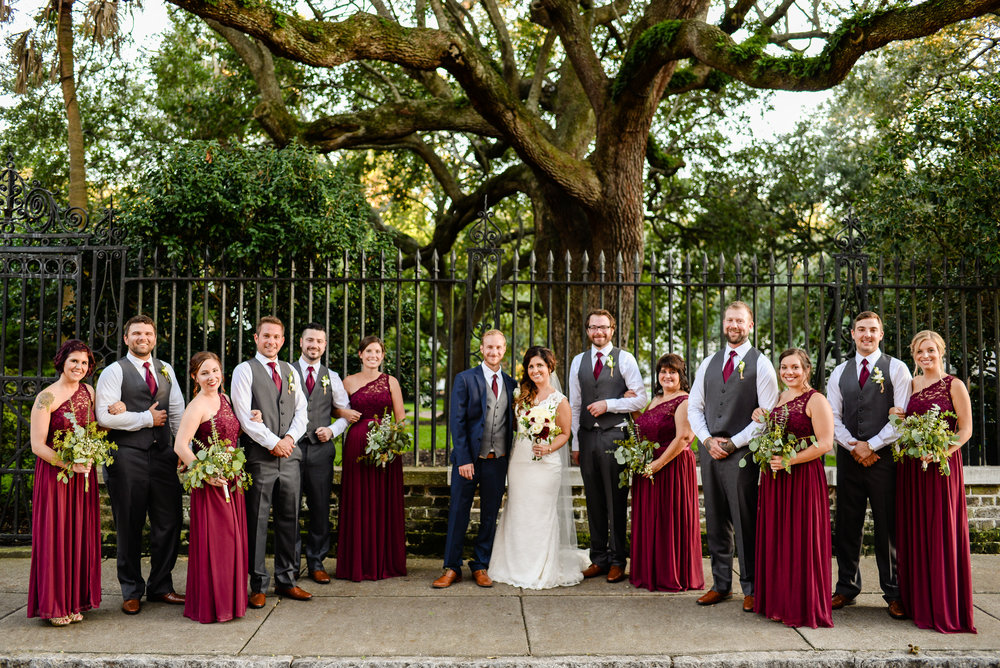 Samantha & Kyle with their wedding party Downtown Charleston, SC