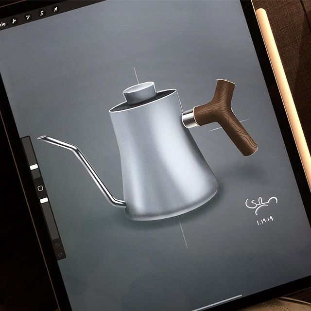 Quick sketch of my favorite Stagg Kettle on my roommates new iPad! Am I getting one? (iPad and kettle of course 😄)