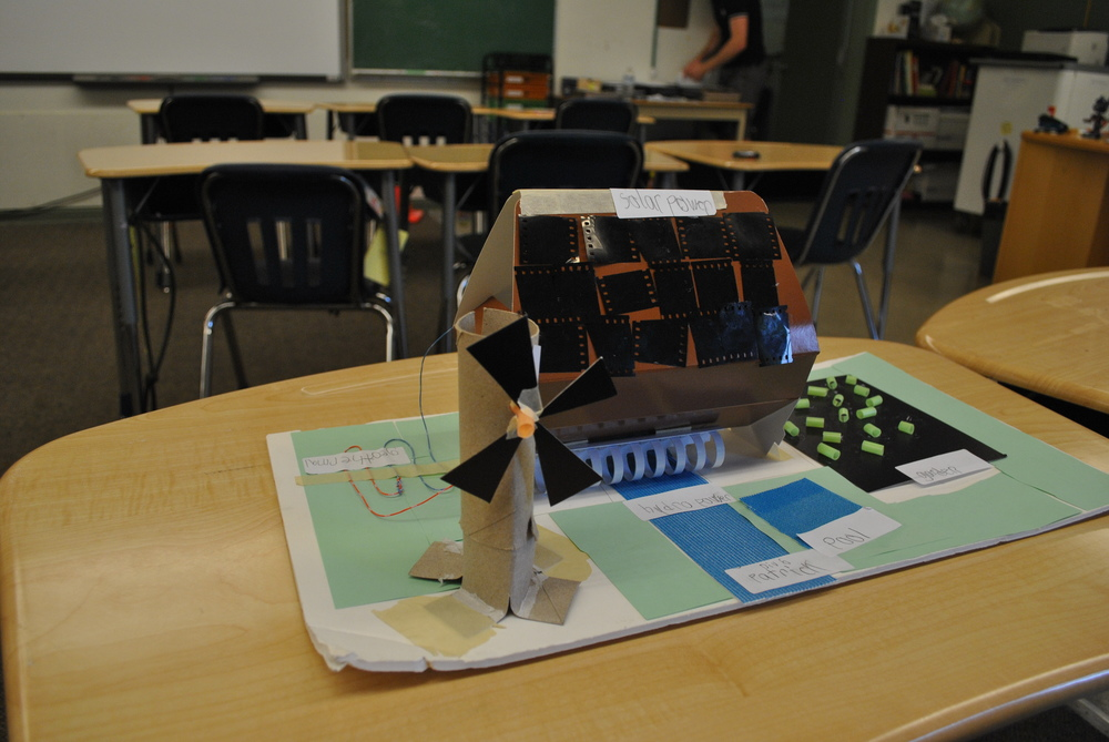 After learning about energy, students in Grade 6 designed sustainable homes that use renewable energy sources