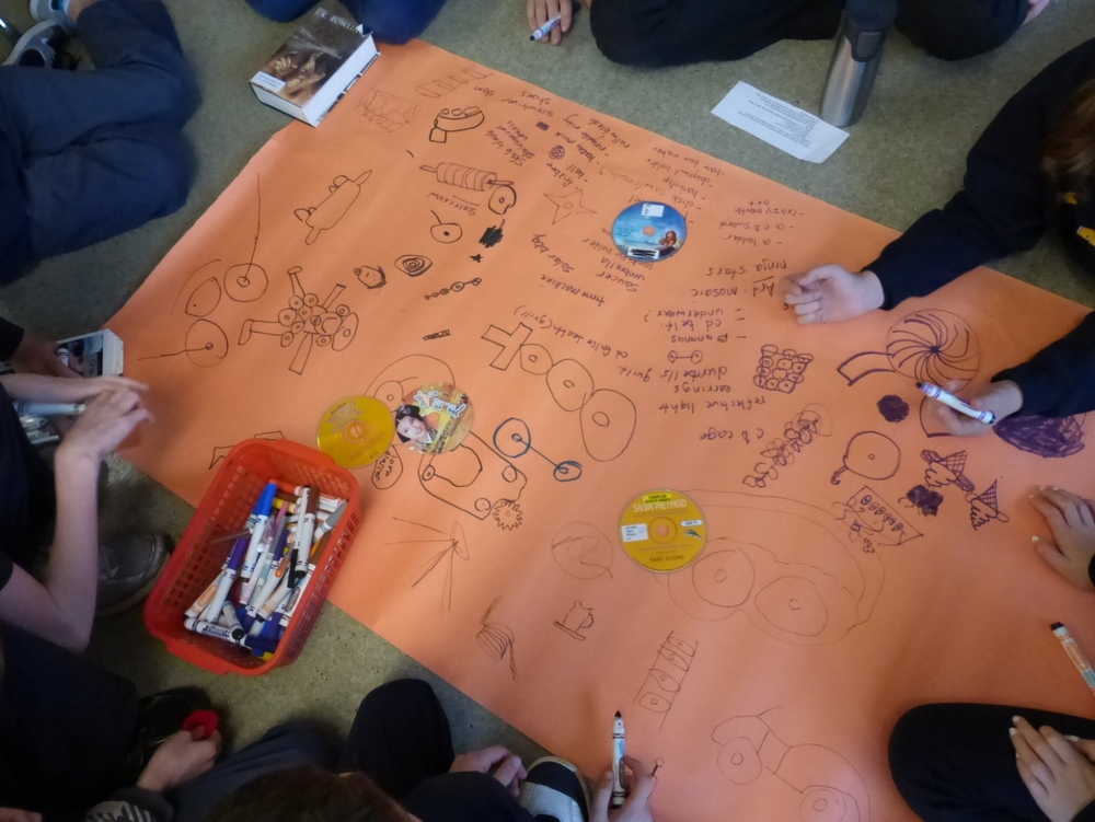 Students brainstorm 100 ideas for alternative uses for CDs