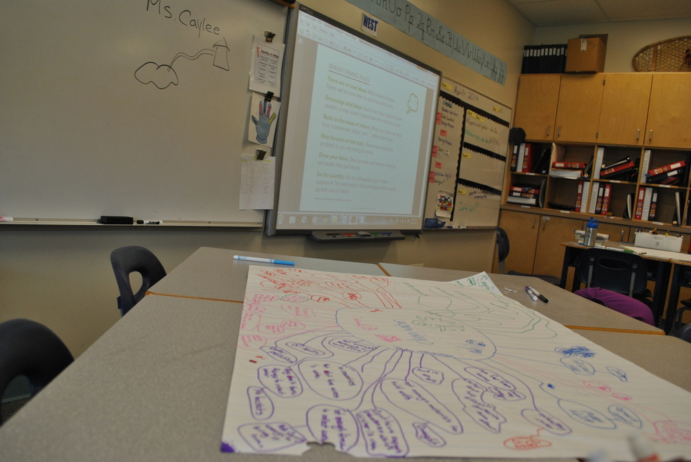 Students brainstorm ideas for ways to increase access to clean drinking water