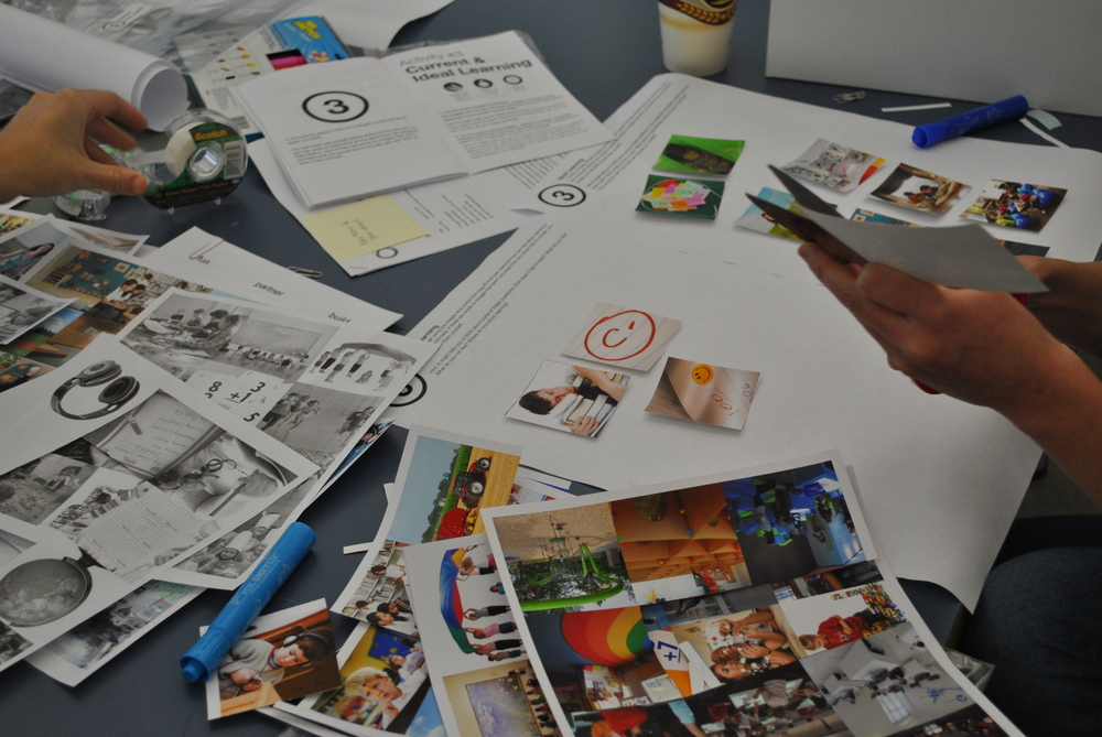 Student participating in a co-creation collage activity