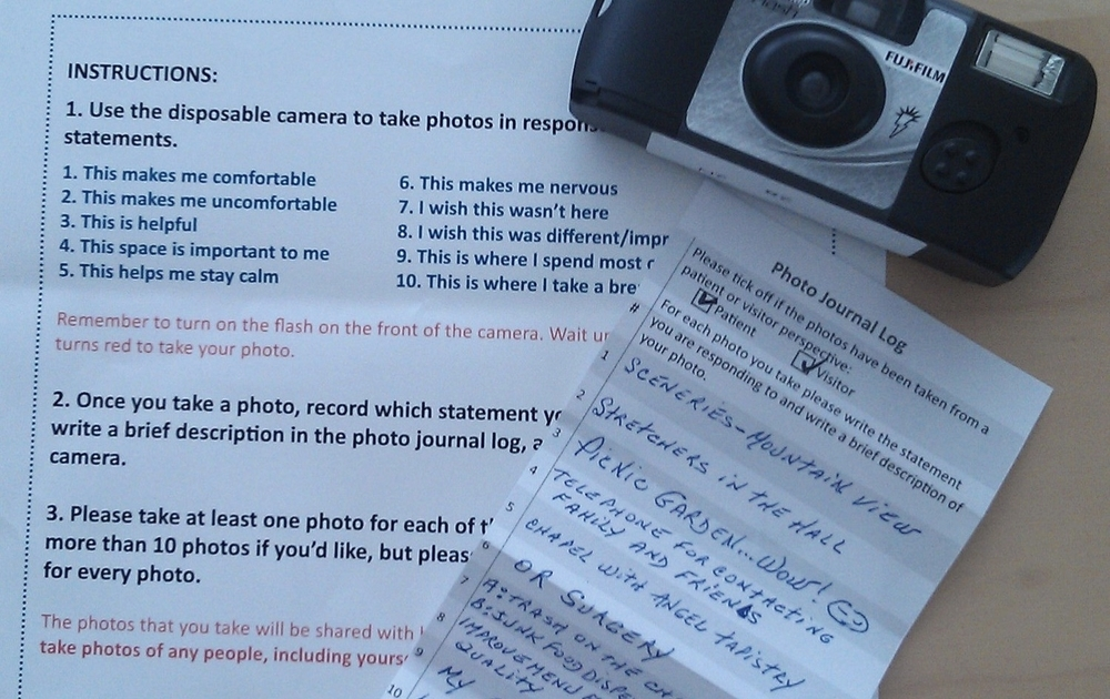 Patient and visitor photo journal activity
