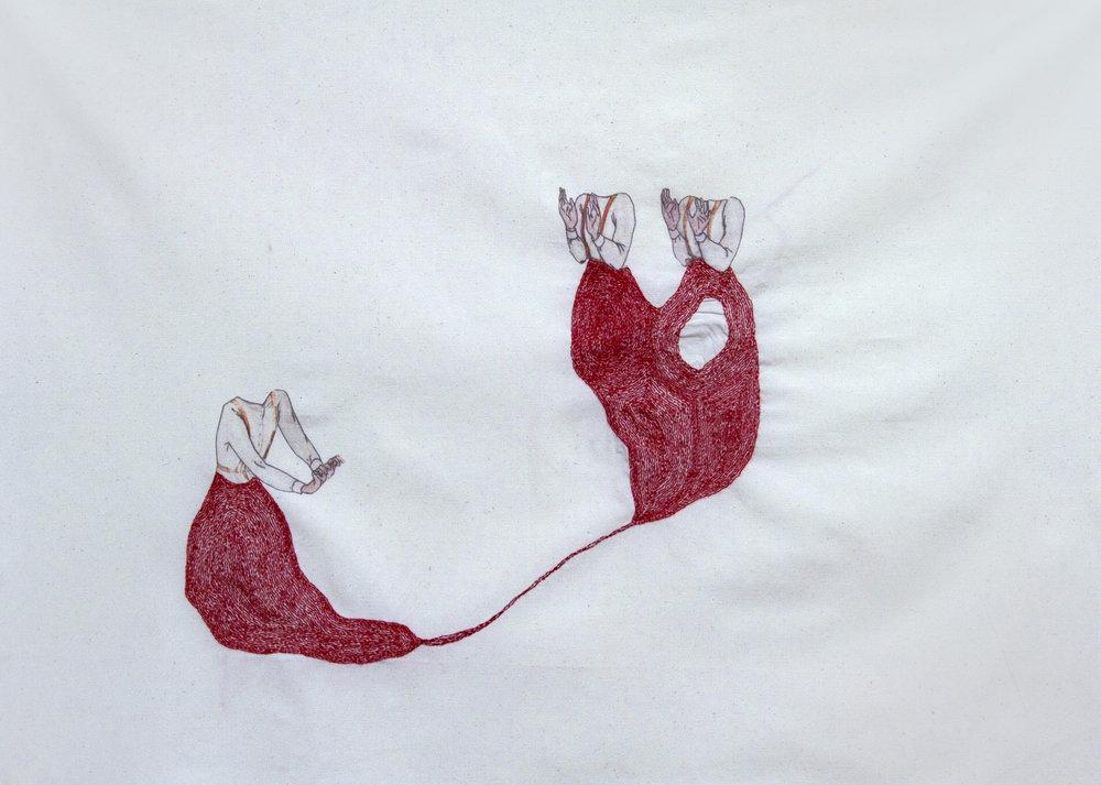 Follow me | Heroes series | Hand sewn on Fabric | 50x70cm