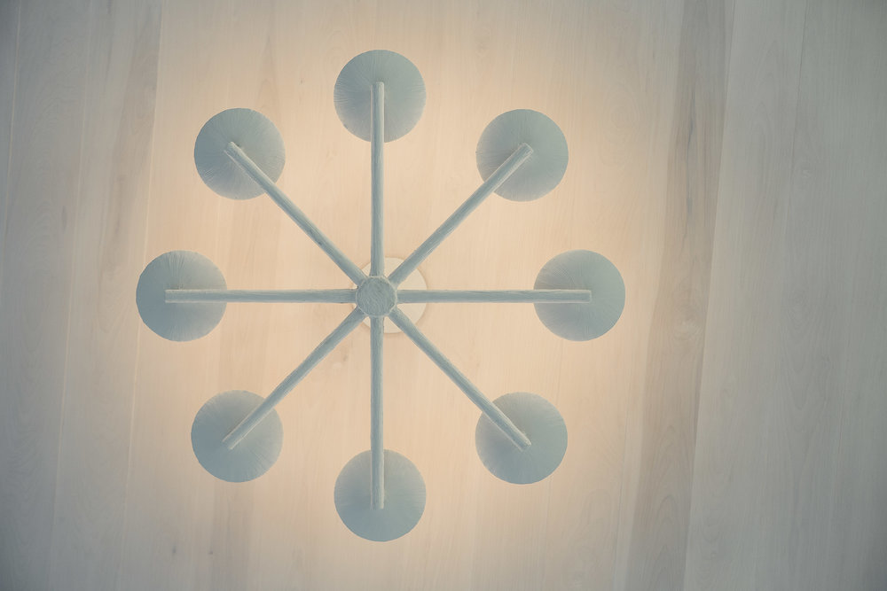 Spoke Chandelier with White Finish